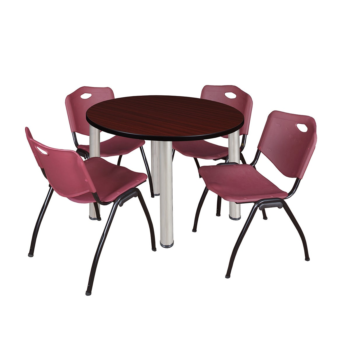 Regency Seating Kee Black Laminate and Chrome 42-inch Round ...