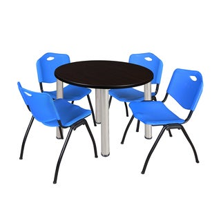 Regency Seating Kee Black 42-inch Round Breakroom Table with 4 Blue 'M' Stackable Chairs