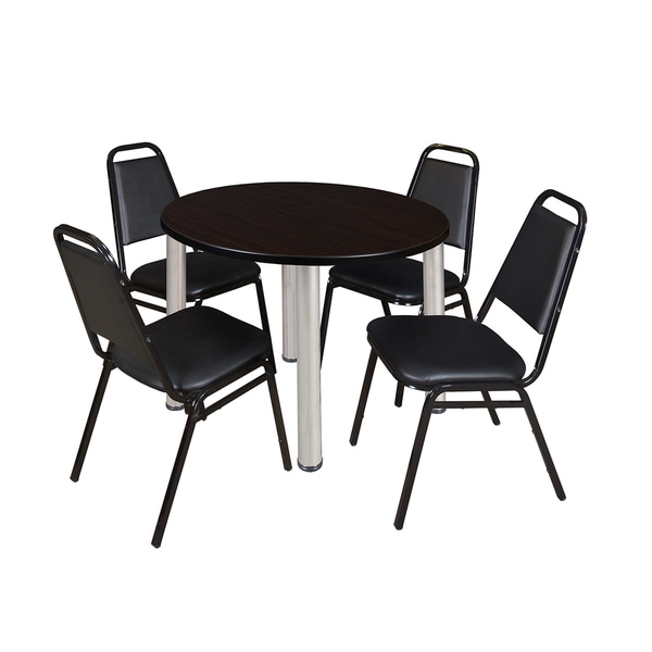 Kee 42-inch Round Chrome Breakroom Table with 4 Black Restaurant ...