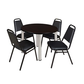 Kee 42-inch Round Chrome Breakroom Table with 4 Black Restaurant Stack Chairs (More options available)