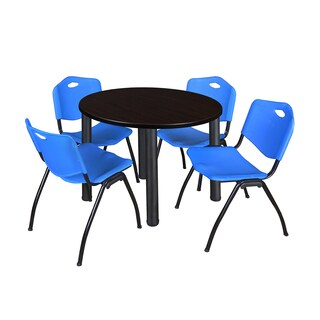 Regency Seating Kee Black/Blue Laminate 42-inch Round Breakroom Table and Chairs Set