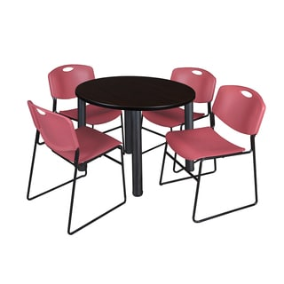 Regency Seating Kee Black 42-inch Round Breakroom Table with 4 Burgundy Zeng Stackable Chairs