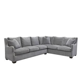 Connor Traditional Grey Velvet Sectional Sofa