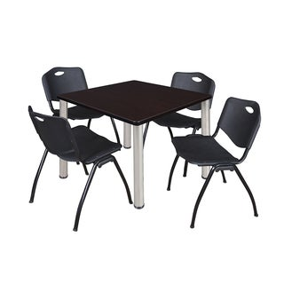 Regency Kee Chrome Breakroom Table and Four Black Stack Chairs