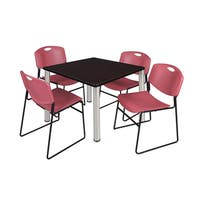 Kee Burgundy Square Breakroom Table and 4 Zeng Stack Chairs
