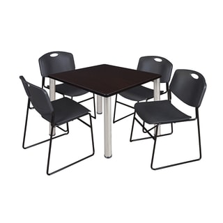 Kee Chrome Metal/Laminate 42-inch Square Breakroom Table and 4 Black Zeng Stack Chairs