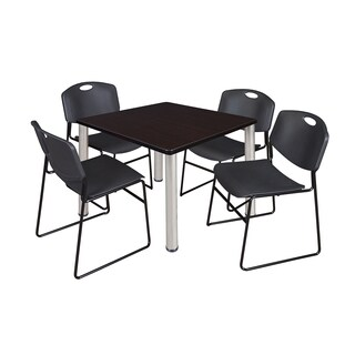 Kee Chrome Metal/Laminate 42-inch Square Breakroom Table and 4 Black Zeng Stack Chairs (More options available)