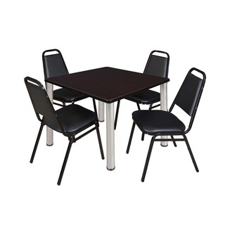 Regency Seating Kee Black 42-inch Square Breakroom Table with Black 4 Restaurant Stackable Chairs