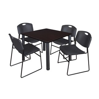 Regency Seating Kee Black 42-inch Square Breakroom Table and 4 Zeng Black Stack Chairs