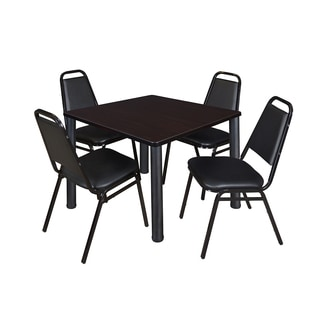 Regency Seating Kee Black 42-inch Square Breakroom Table with 4 Black Restaurant Stackable Chairs