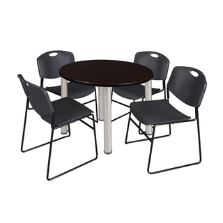 Regency Seatign Kee Chrome 36-inch Round Breakroom Table and 4 Black Zeng Stack Chairs