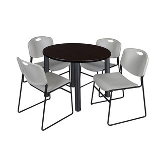 Regency Seating Kee Black 36-inch Round Breakroom Table with 4 Grey Zeng Stackable Chairs