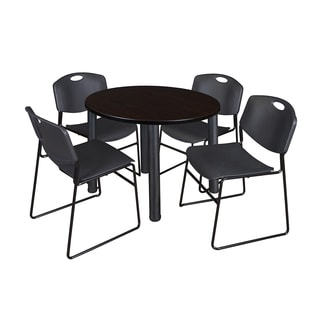 Regency Seating Kee Black Laminate 36-inch Round Breakroom Table with Zeng Stack Chairs