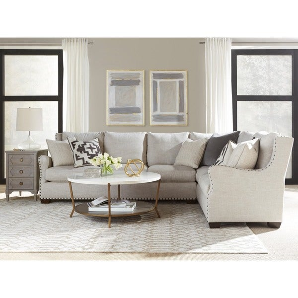 Connor Curved Back Belgian Linen Sectional Sofa With Ultra Plush Down Blended Cushions