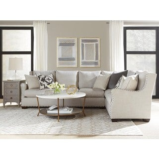 Connor Traditional Grey Linen Sectional Sofa