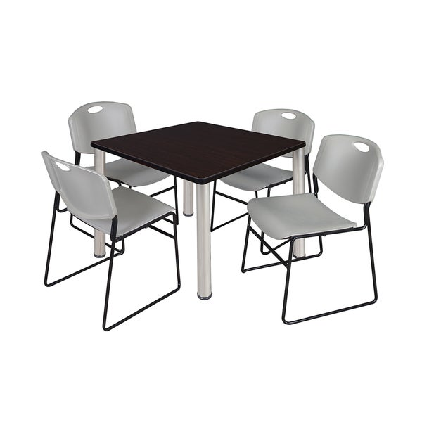 kee chrome metal wood 36 inch square breakroom table and 4 grey zeng stack chairs free. Black Bedroom Furniture Sets. Home Design Ideas