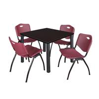 Regency Seating Kee Black 36-inch Square Breakroom Table with 4 Burgundy M-style Stacking Chairs