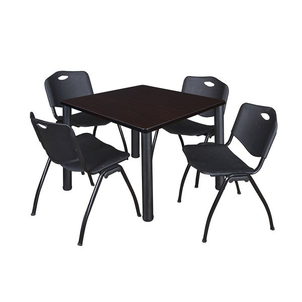 kee black square breakroom table and 4 black 39 m 39 stack chairs free shipping today overstock. Black Bedroom Furniture Sets. Home Design Ideas