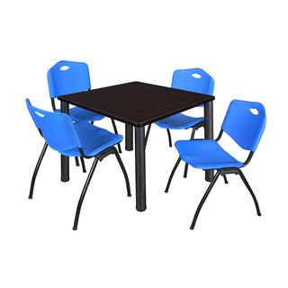 Kee Blue/Black Laminate 36-inch Square Breakroom Table and Chair Set