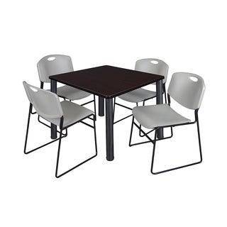 Regency Seating Kee Black 36-inch Square Breakroom Table with 4 Zeng Grey Stack Chairs