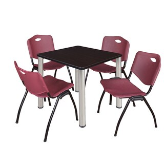 Regency Seating Kee Chrome 30-inch Square Breakroom Table with 4 M Burgundy Stack Chairs