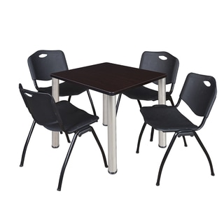 Regency Seating Kee Chrome 30-inch Square Breakroom Table with 4 Black M-style Stacking Chairs