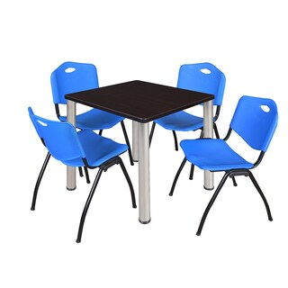 Regency Seating Kee Chrome 30-inch Square Breakroom Table With 4 Blue M-style Stacking Chairs