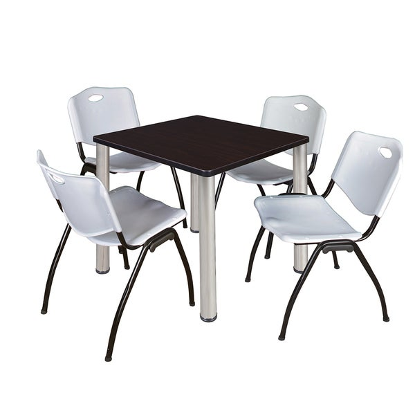 kee grey black laminate wood metal 30 inch square breakroom table and chair set free shipping. Black Bedroom Furniture Sets. Home Design Ideas
