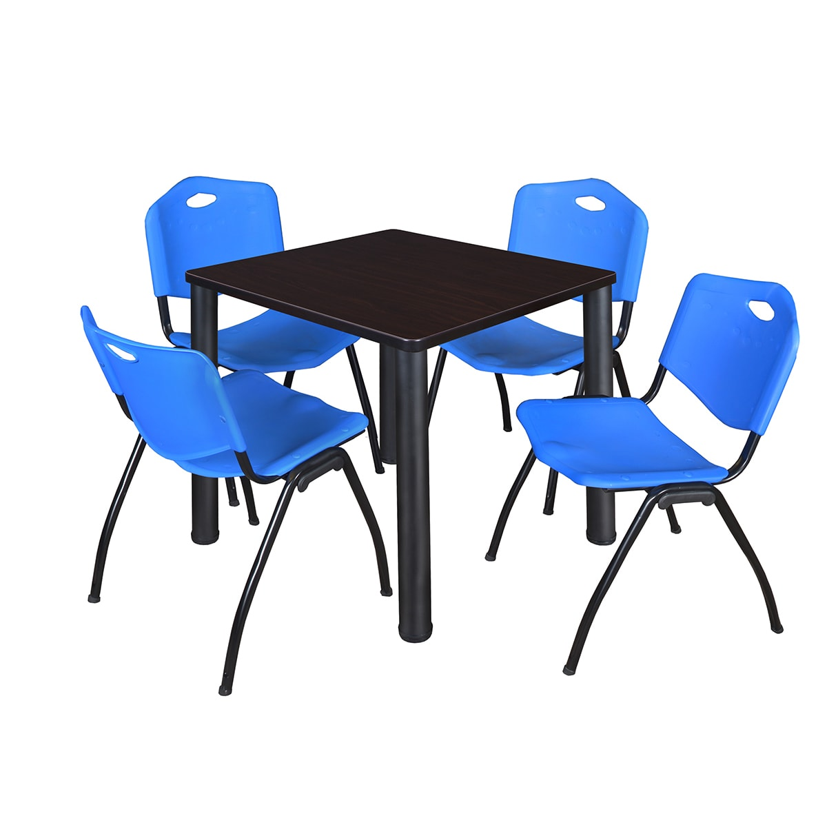 Kee Black Metal/Wood 30-inch Square Breakroom Table and 4 Blue \'M ...