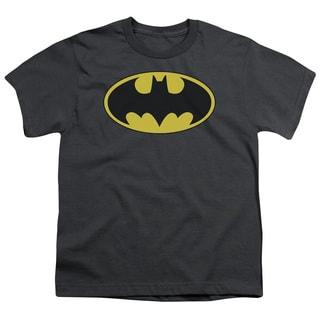 Batman/Classic Bat Logo Short Sleeve Youth 18/1 in Charcoal