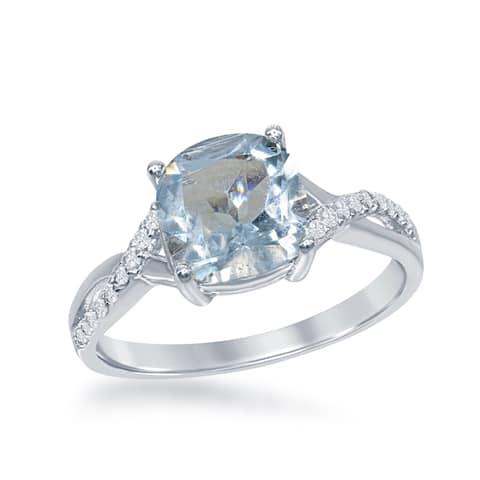 La Preciosa Sterling Silver Cushion-cut Gemstone Ring