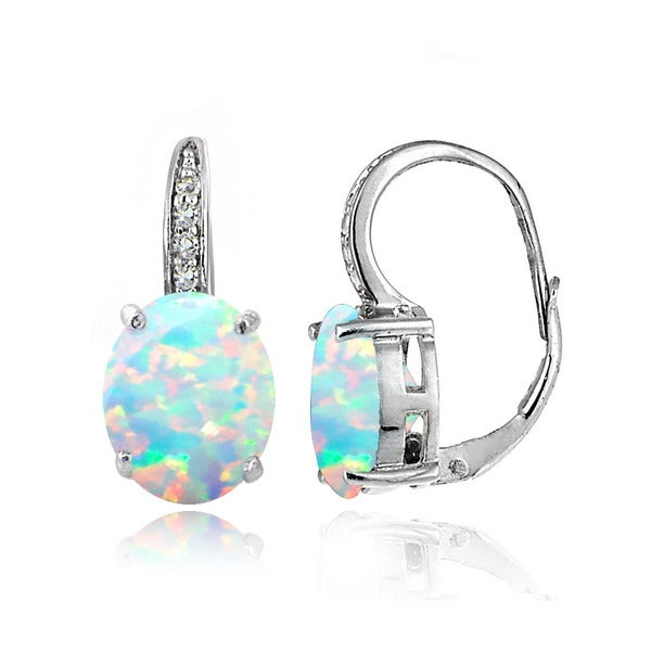 Glitzy Rocks Sterling Silver Created Opal White Topaz Oval Leverback Earrings