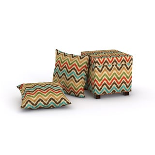 Madison Park Allison Multi Square Storage Ottoman with 2 Pillows
