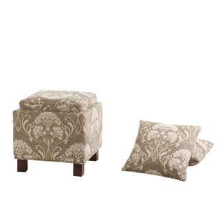 Madison Park Allison Taupe Multi Square Storage Ottoman with 2 Pillows