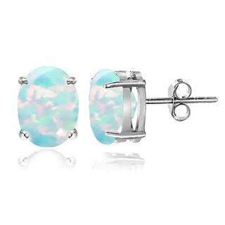 Glitzy Rocks Sterling Silver Created Opal 7x5mm Oval Stud Earrings