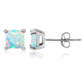 Glitzy Rocks Sterling Silver 6mm Square Created Opal Stud Earrings