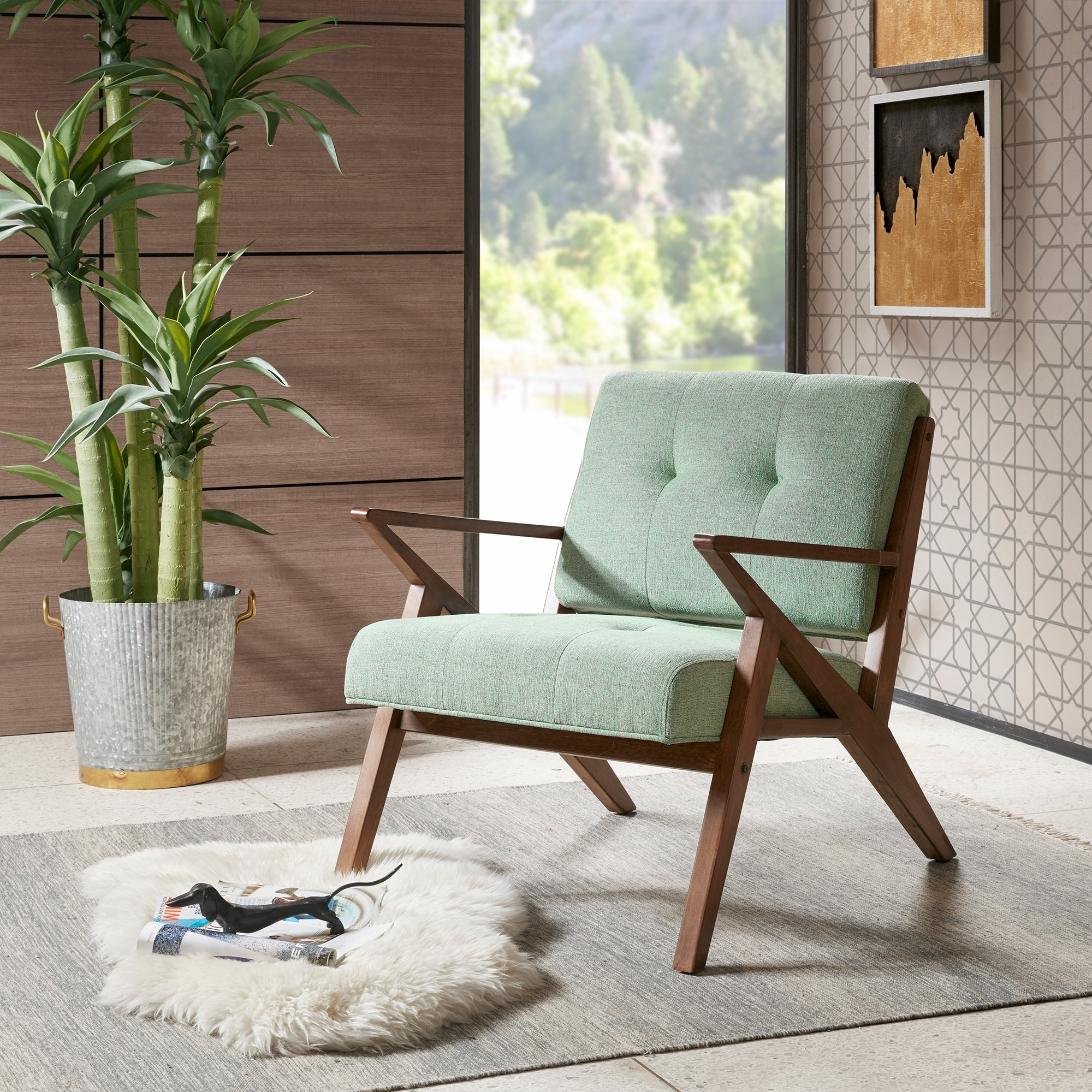 Carson Carrington Mustvee Seafoam/ Pecan Lounger Arm Chair (33.5Wx30Dx32.5H-Light Blue)