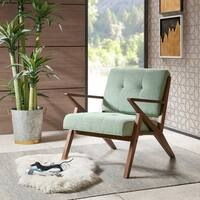 INK+IVY Rocket Pecan Wood/Seafoam Fabric Mid-century Lounger Armchair
