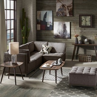 INK+IVY Grant Grey and Silver Sectional Square Ottoman