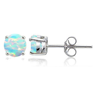 Glitzy Rocks Sterling Silver Created Opal 7mm Round Stud Earrings