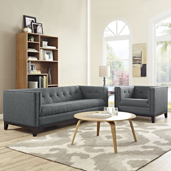 Shop Serve Tufted 2 Piece Living Room Furniture Set On Sale Free Shipping Today Overstock