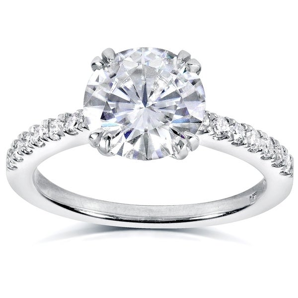 Annello by Kobelli 14k White Gold 2 1/10ct TGW Round Moissanite (HI) and Diamond Traditional Engagement Ring
