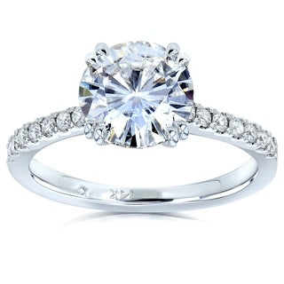 Annello 14k White Gold Round Moissanite and 1/5ct TDW Diamond Engagement Ring (G-H, I1-I2)