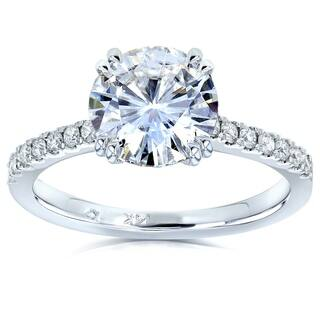 Annello by Kobelli 14k White Gold 2 1/10ct TGW Round Moissanite (HI) and Diamond Traditional Engagement Ring|https://ak1.ostkcdn.com/images/products/12818521/P19586579.jpg?impolicy=medium