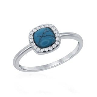 La Preciosa Sterling Silver Turquoise and CZ Cushion-cut Ring