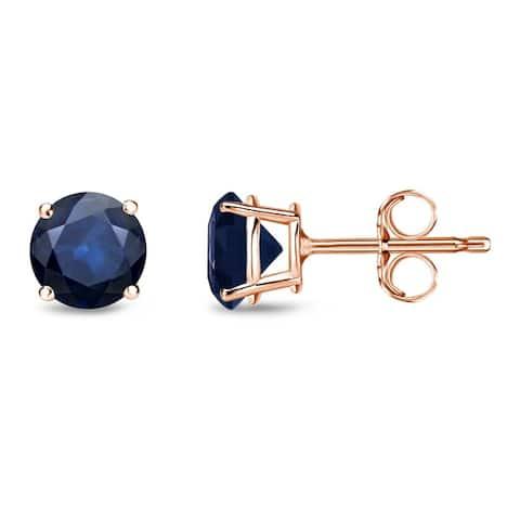 Auriya 3/4ctw Round Blue Sapphire Stud Earrings 14k Gold