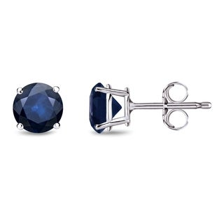 Auriya 14k Gold 3/4ct 4-Prong Push-Back Round-Cut Blue Sapphire Gemstone Stud Earrings