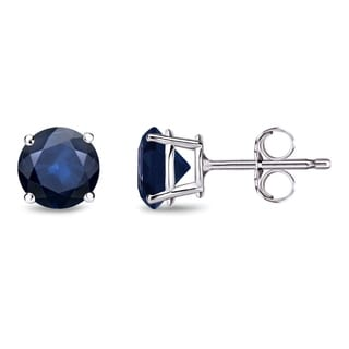 Auriya 14k Gold 1ct 4-Prong Push-Back Round-Cut Blue Sapphire Gemstone Stud Earrings
