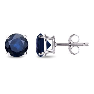 Auriya 14k Gold 1 1/2ct 4-Prong Push-Back Round-Cut Blue Sapphire Gemstone Stud Earrings