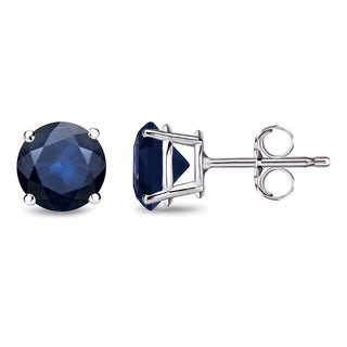Auriya 14k Gold 2ct 4-Prong Push-Back Round Cut Blue Sapphire Gemstone Stud Earrings